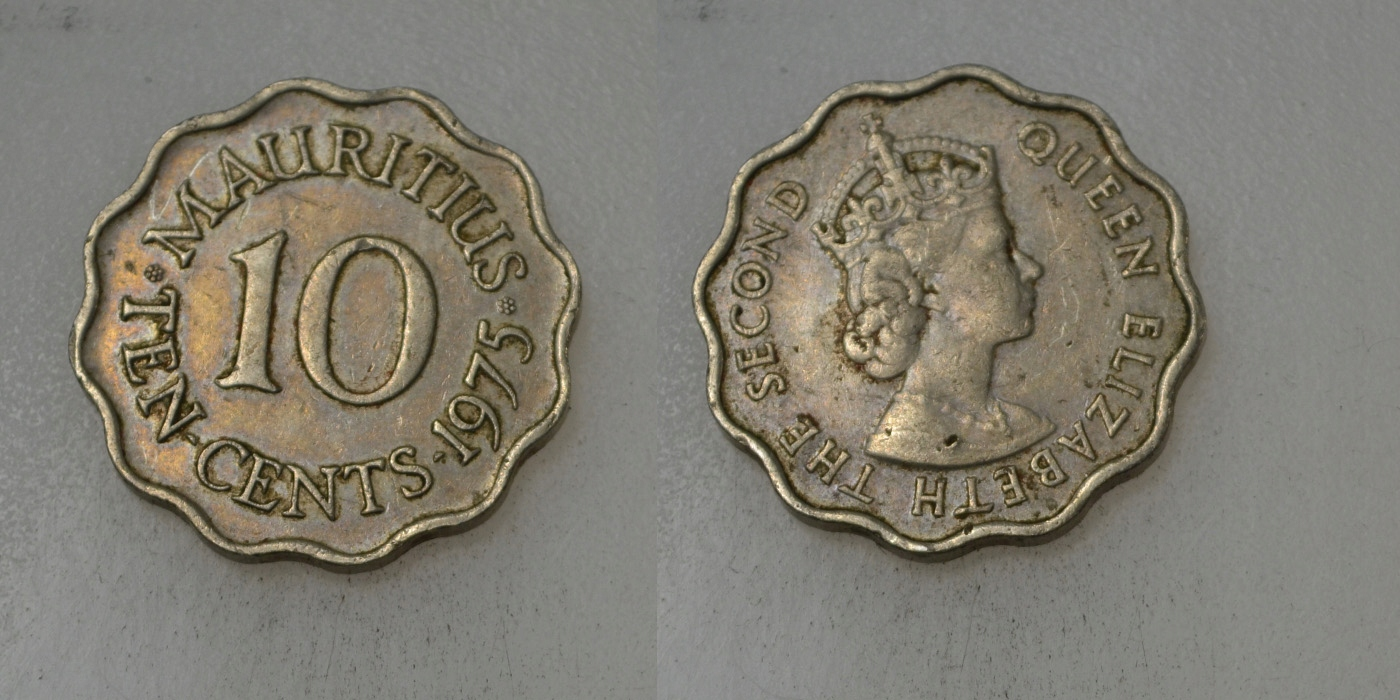 Mauritius 10 Cents 1975 rok BCM