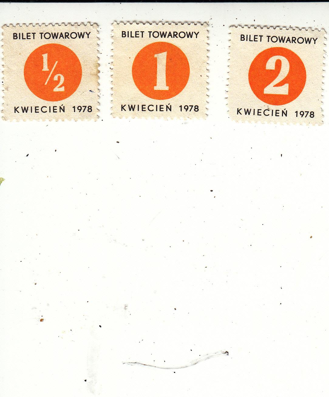 Bilet towarowy - kwiecień 1978