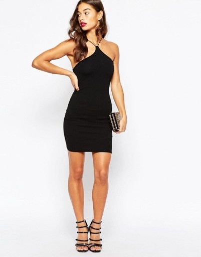 BooHoo czarna sukienka halter 36 S
