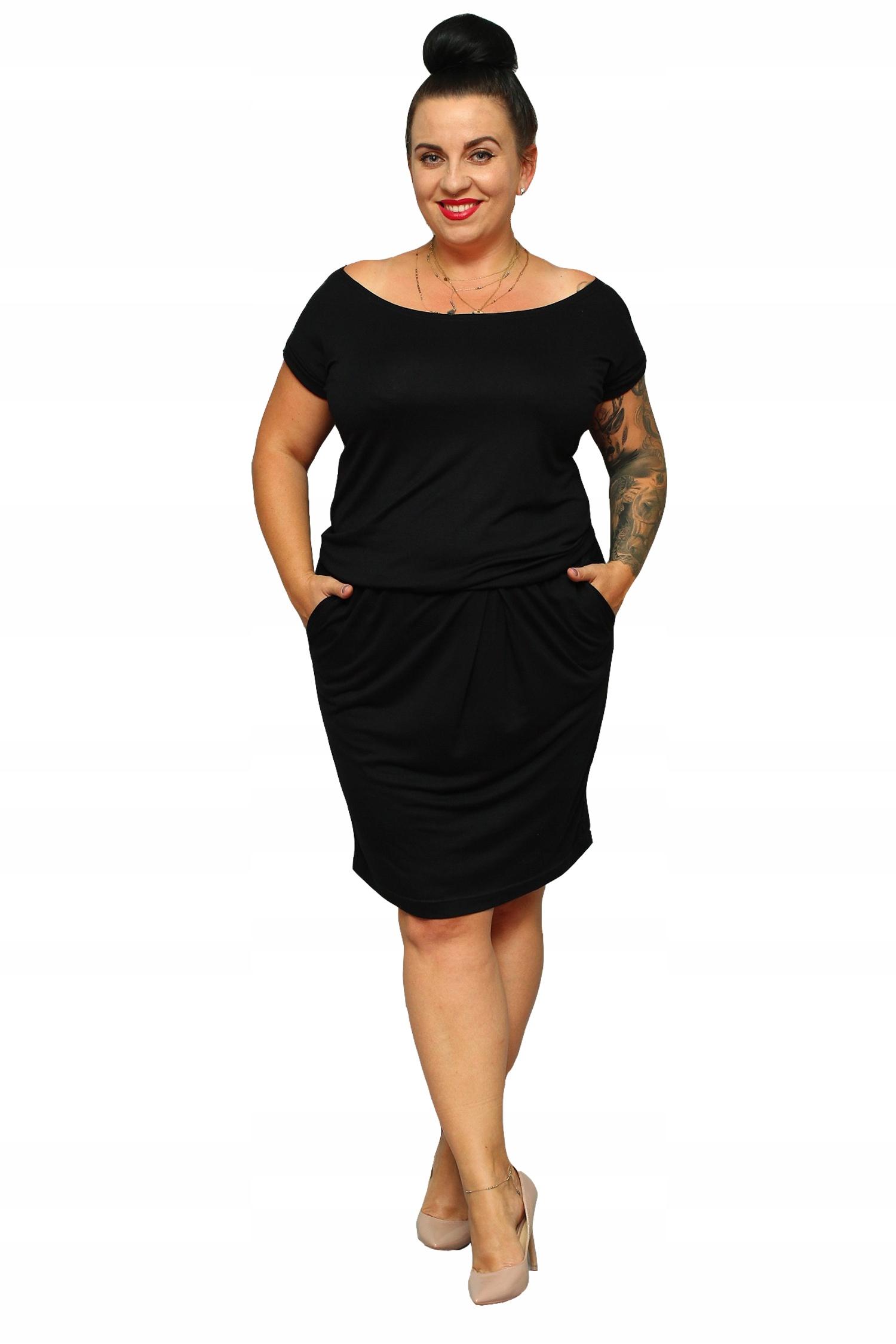 WYPRZEDAŻ Sukienka TAMARA gumka czarna 4