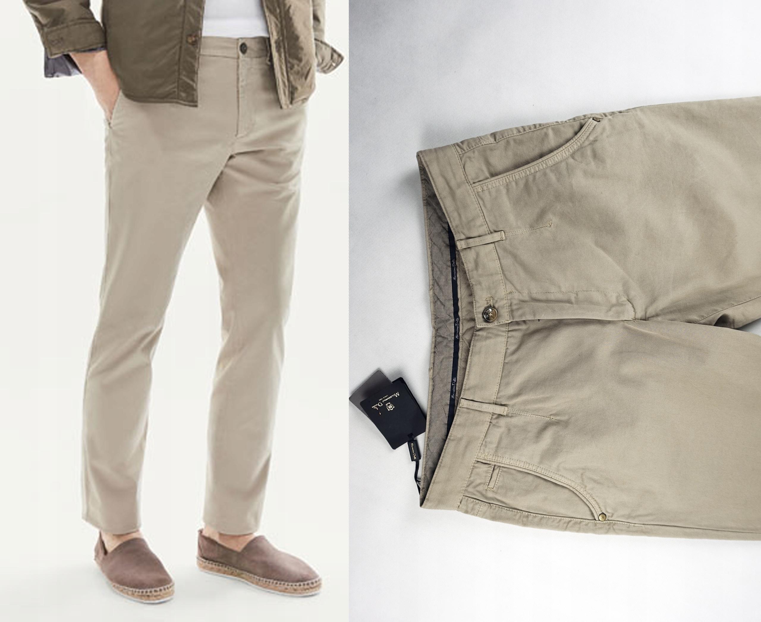 Beżowe spodnie chinos Massimo Dutti 40 bawełna