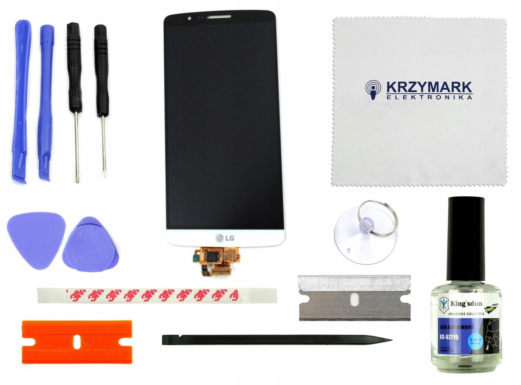 LG G3 D850 D855 WYŚWIETLACZ EKRAN LCD BIAŁY+NARZ