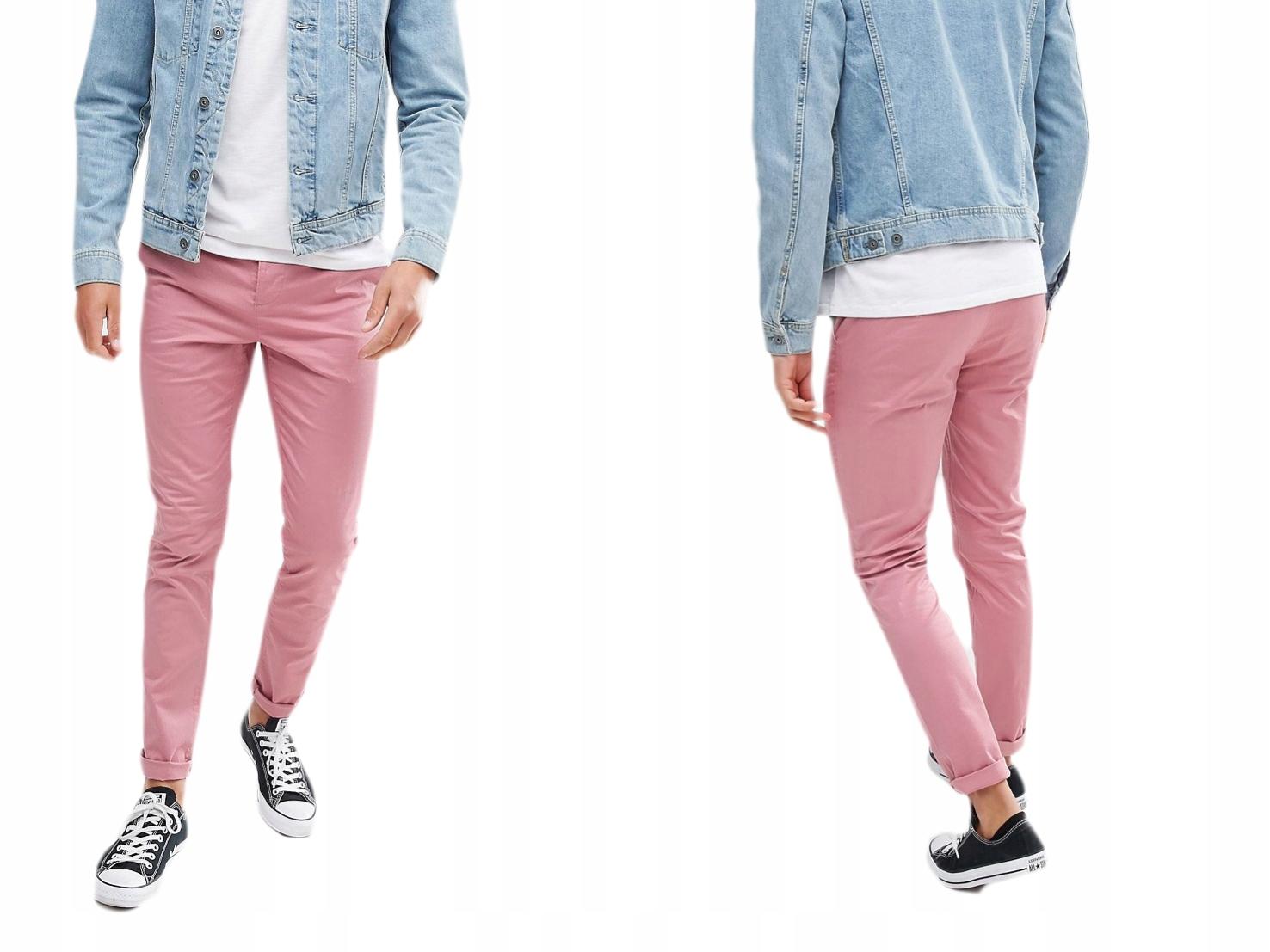 Różowe męskie spodnie skinny W30/L32