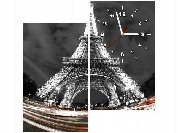 60x60 kwadrat Obraz zegar Paris Eiffel tower wieża