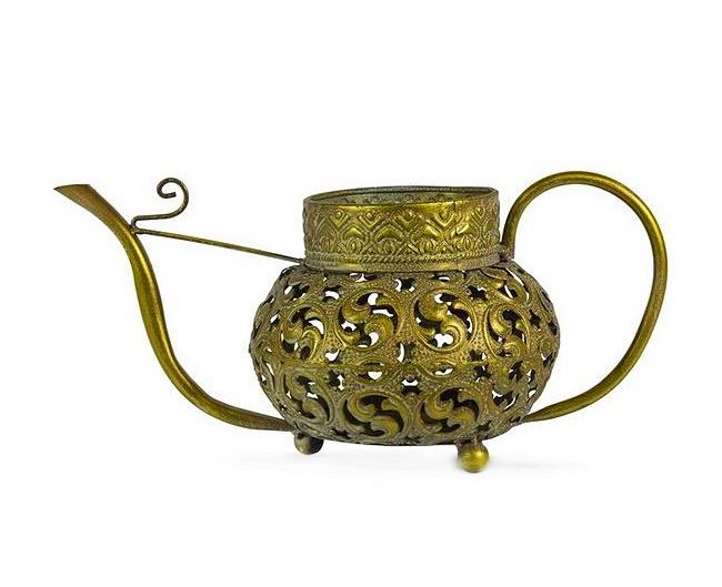 Metalowy Lampion Marokański Złoty Ażurowy Złoto n2