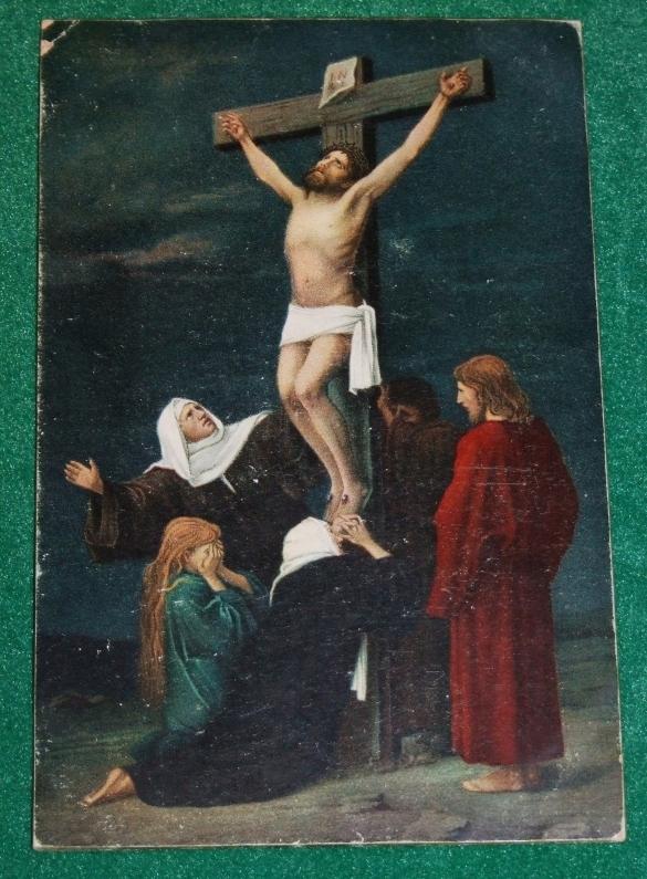 Chrystus na krzyżu - przedwojenna pocztówka