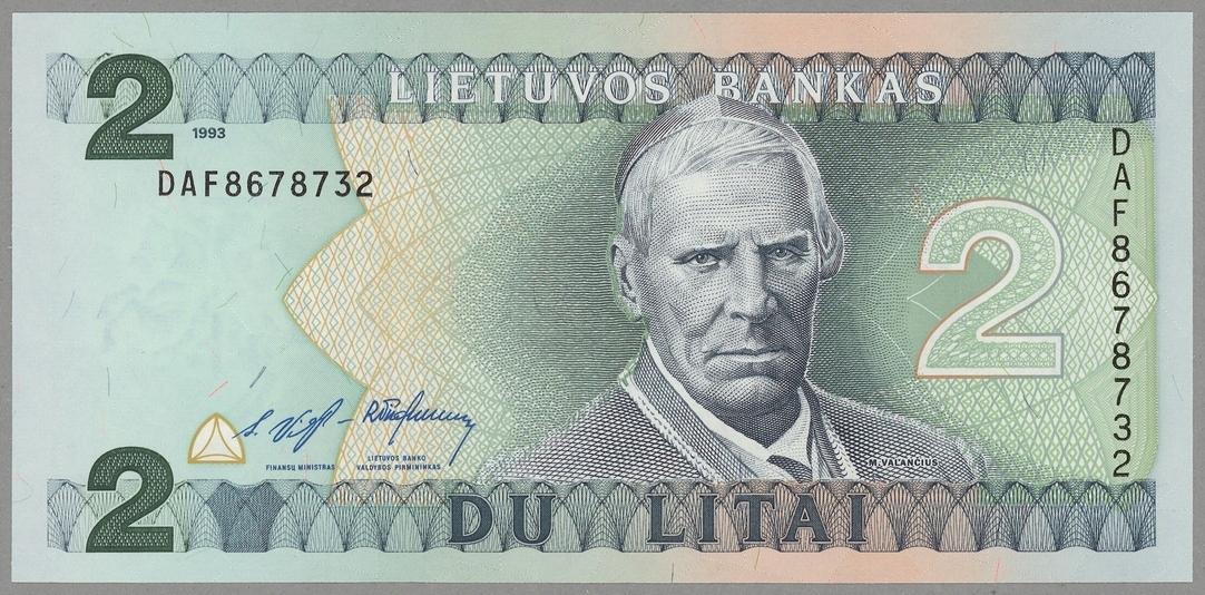 Litwa 2 Litai 1993 UNC Słania