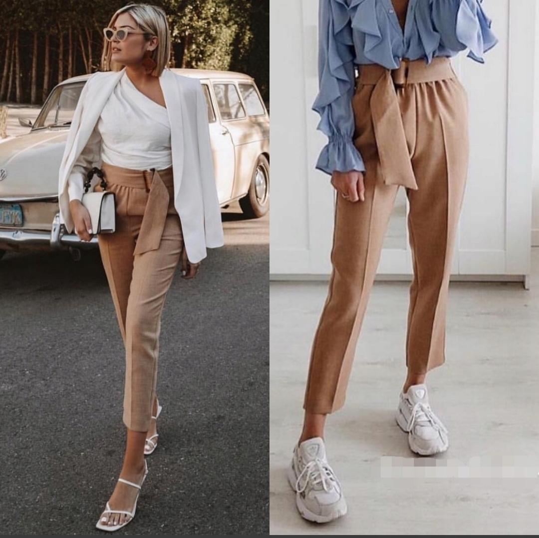 Spodnie 36 s Zara paperbag stan pasek cygaretki