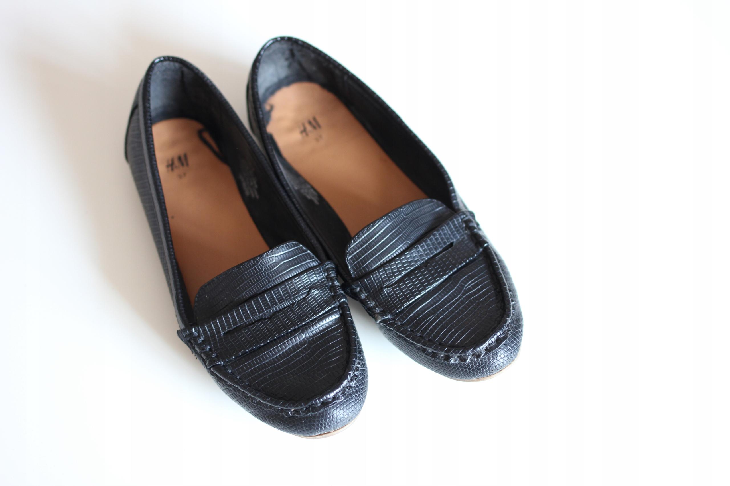 Czarne mokasyny damskie H&M rozm. 37