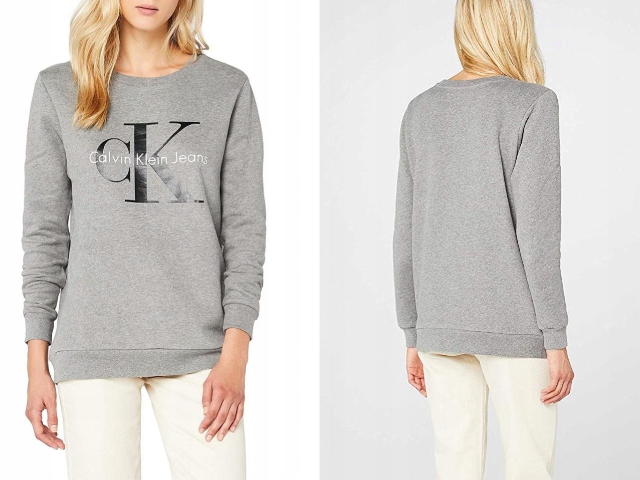 Calvin Klein Jeans Szara Bluza z Logo L/40