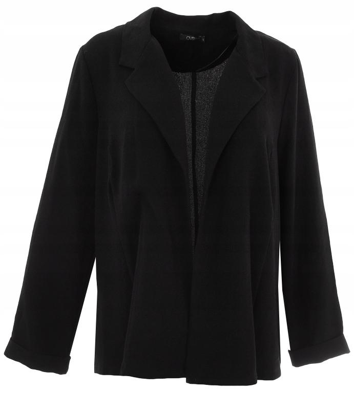 aEE8053 czarny modny niezapinany żakiet 48