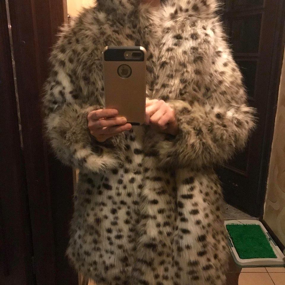 Futerko panterka cętki leopard H&M M 38 futrza