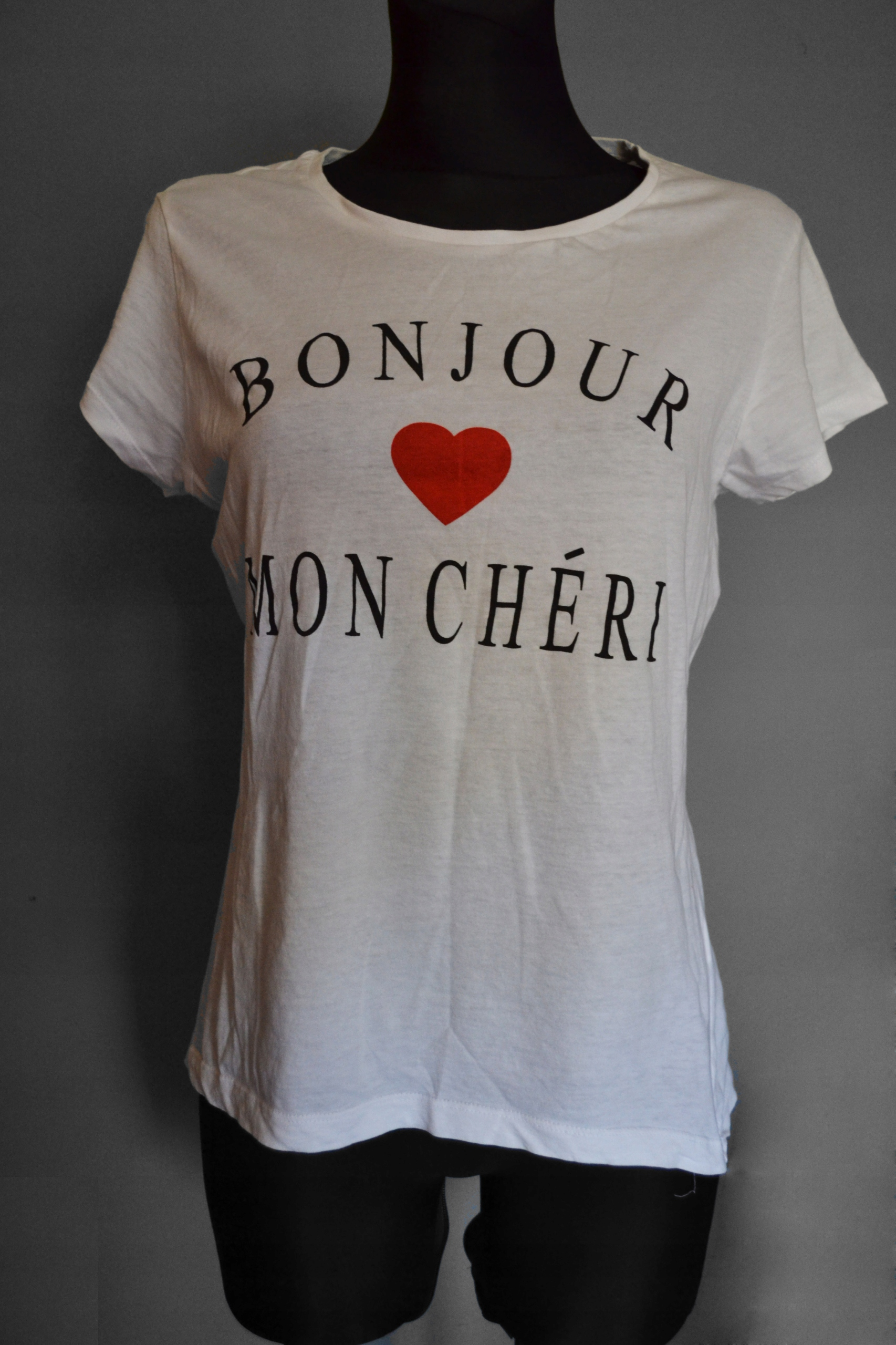 biała koszulka BONJOUR french style M/L