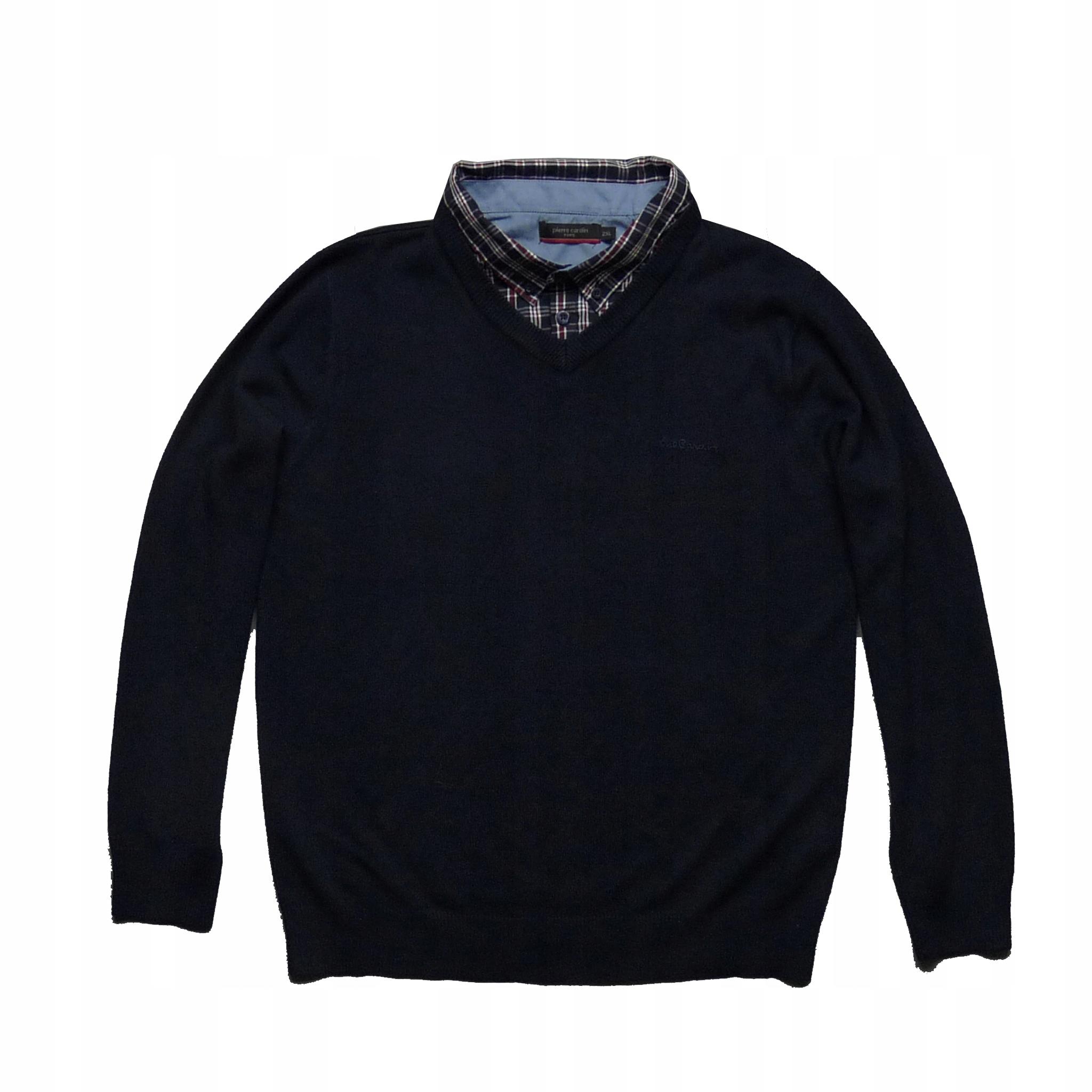 PIERRE CARDIN granatowy sweter z kołnierzykiem M