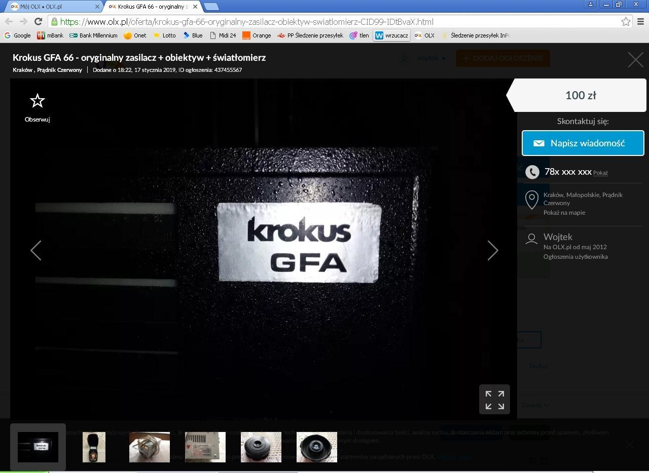 Krokus GFA 66 oryginalny zasilacz + obiektyw + ...