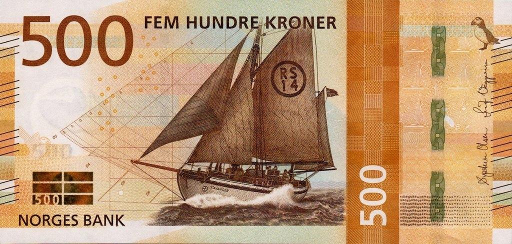 Norwegia 500 koron Żaglowiec 2018 P-56a