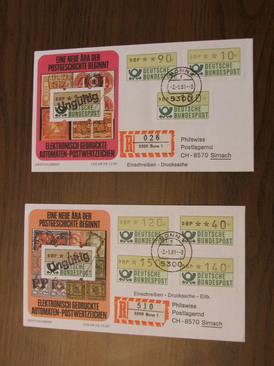 """FDC, znaczki z automatu, """"R"""","""