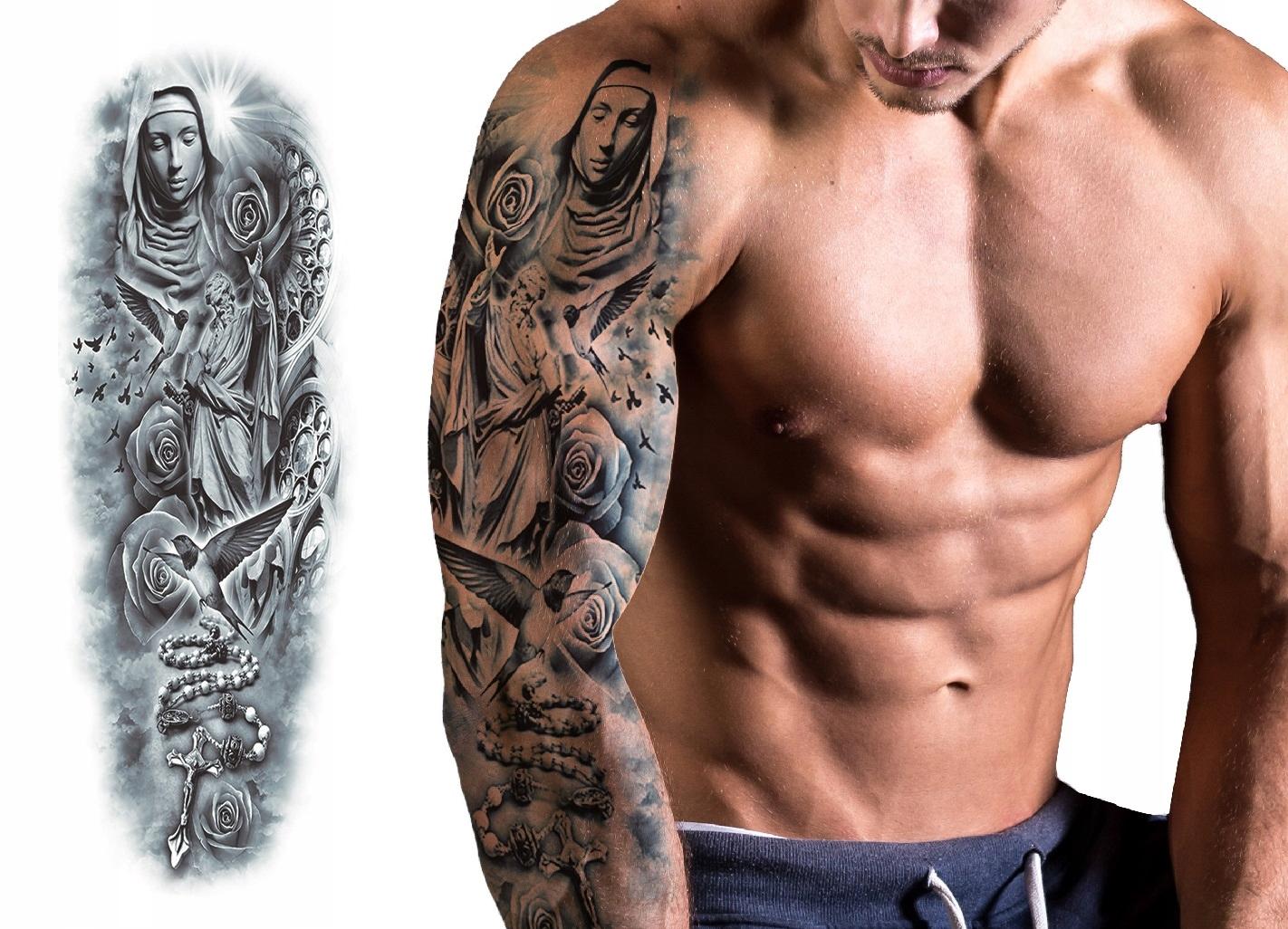 Tatuaż Zmywalny Tymczasowy Wodny Rękaw Maryja Róża