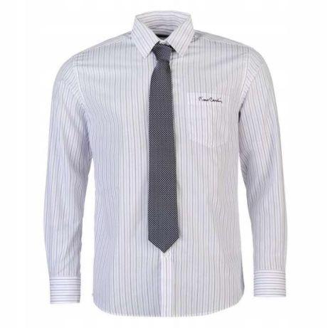 PIERRE CARDIN koszula biala w niebieskie paski