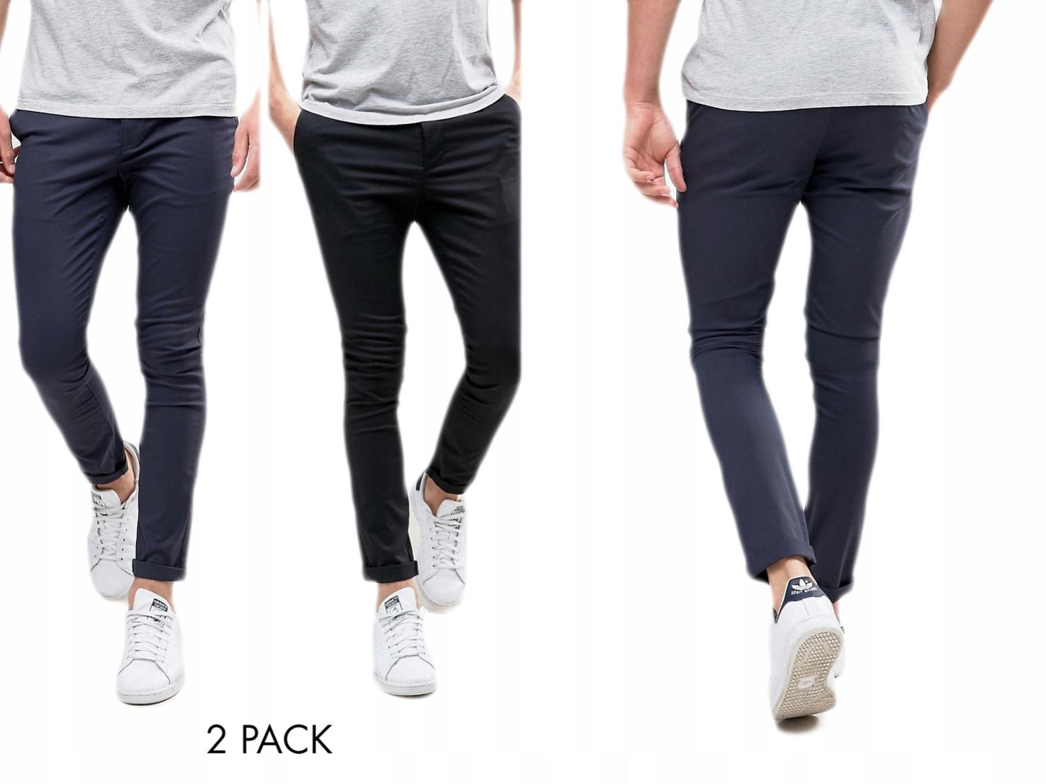 Spodnie Czarne Męskie proste na guziki W30 L34
