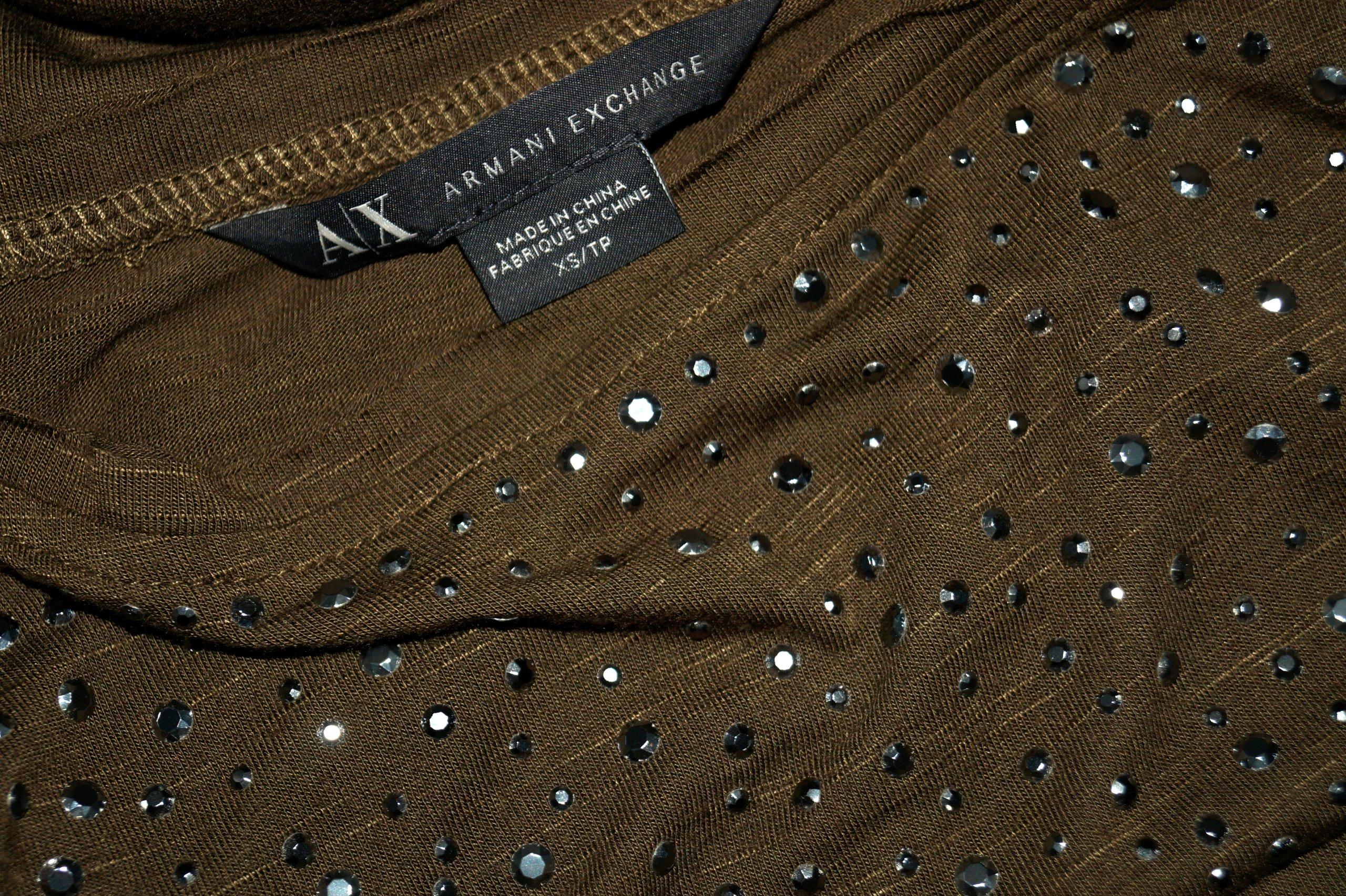 ARMANI oliwkowa zdobiona bluzeczka J.NOWA 34 36