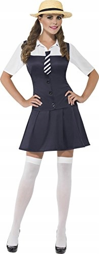 Smiffy's School Girl Costume, Dress,Tie and Boater