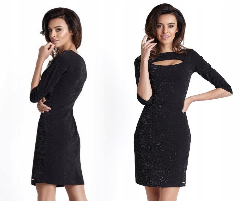 7841bcb4 Dopasowana błyszcząca sukienka, mała czarna, XS - 7646841833 ...