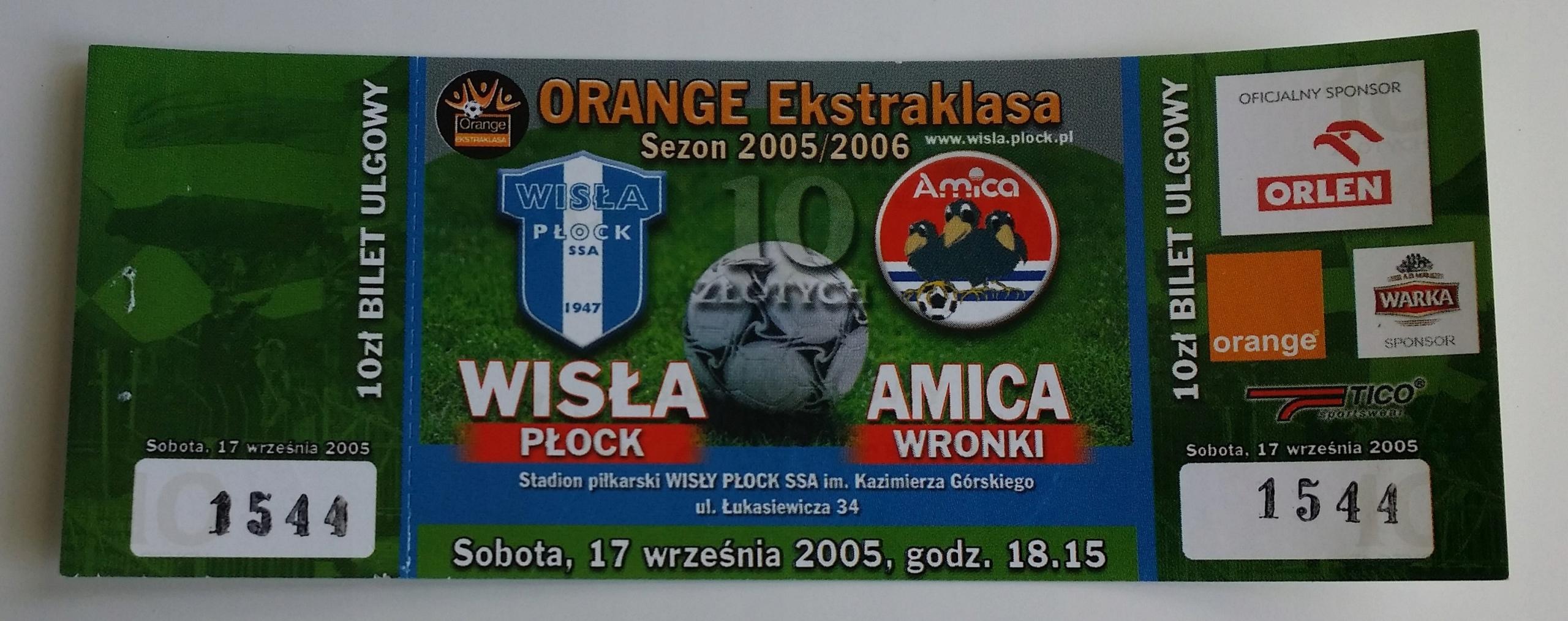 Bilet Wisła Płock - Amica Wronki 17.09.2005