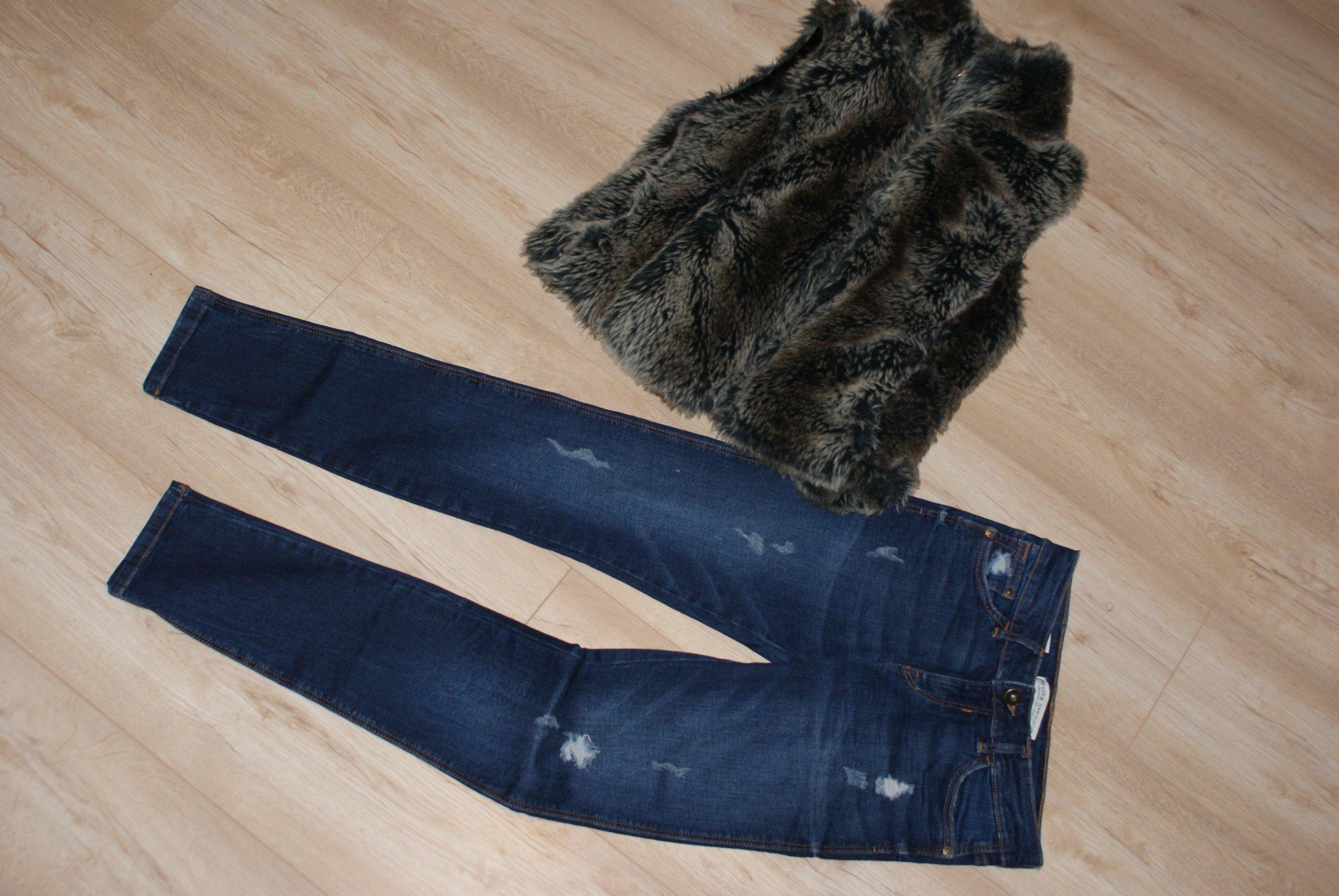 Super zestaw TANIO Spodnie jeans + bezrękawnik 34