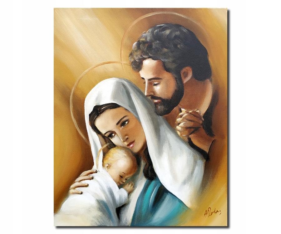 OBRAZ MALOWANY ŚWIĘTA RODZINA NA PŁÓTNIE MARYJA