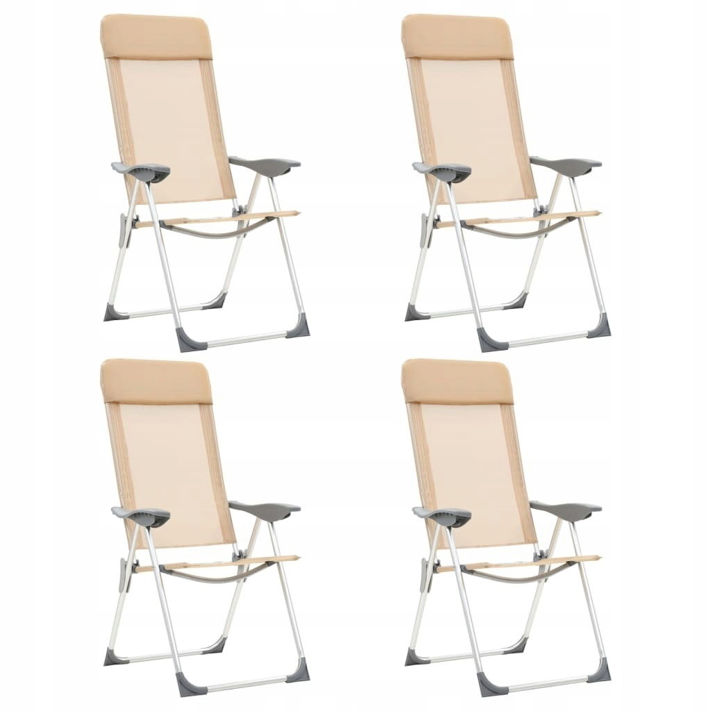 Składane krzesła turystyczne, 4 szt., kremowe, alu