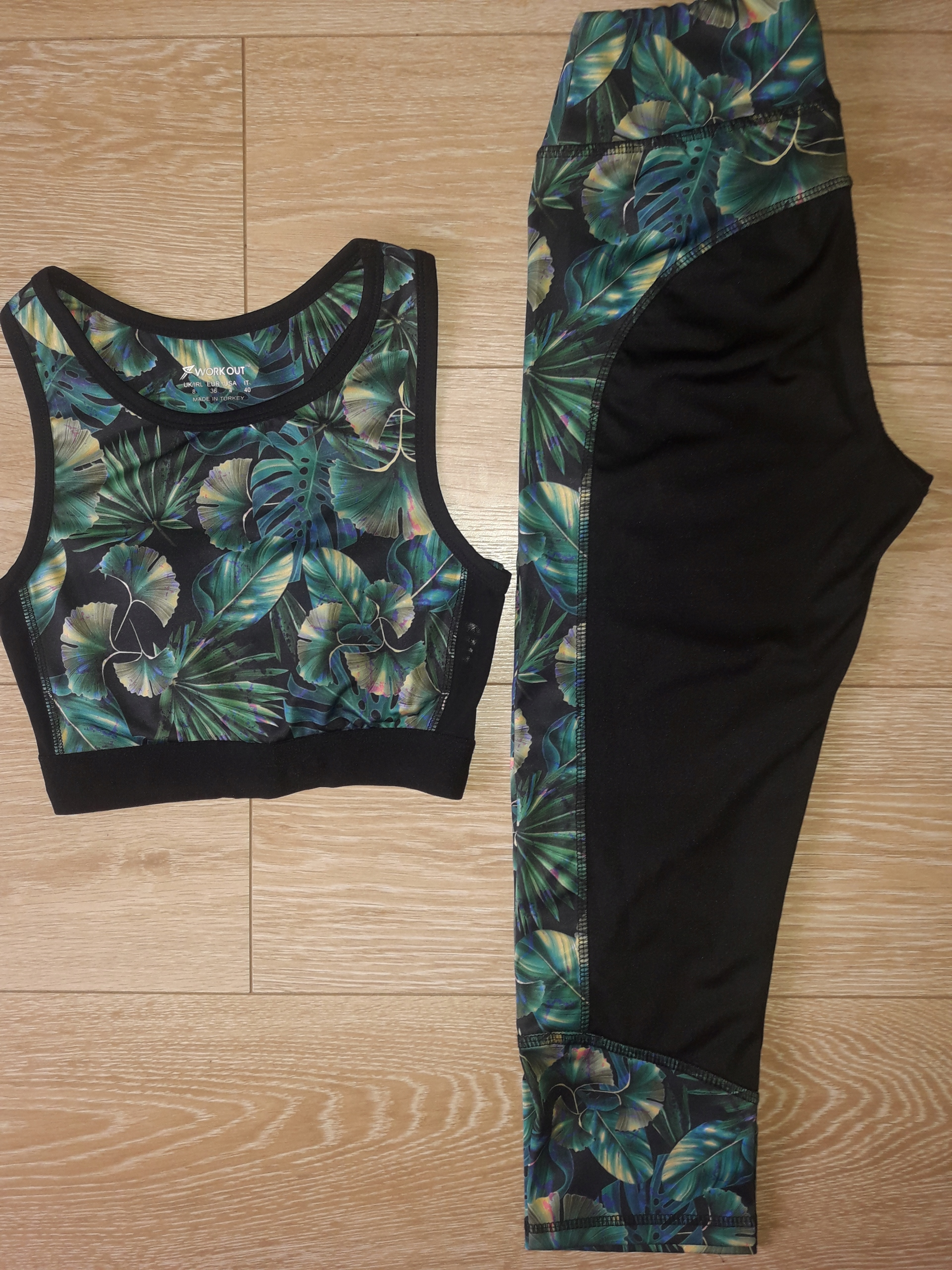 KOMPLET SPORTOWY LEGGINSY I TOP WORK OUT S/XS