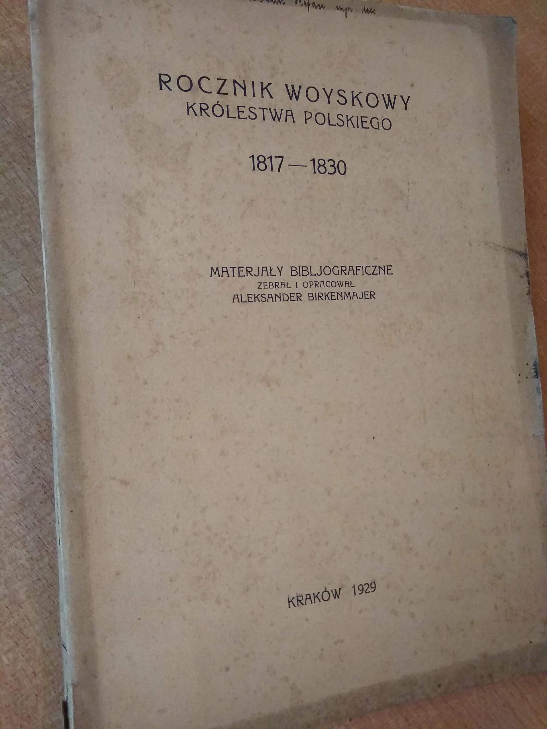 Rocznik Woyskowy Królestwa Polskiego 1817-1830