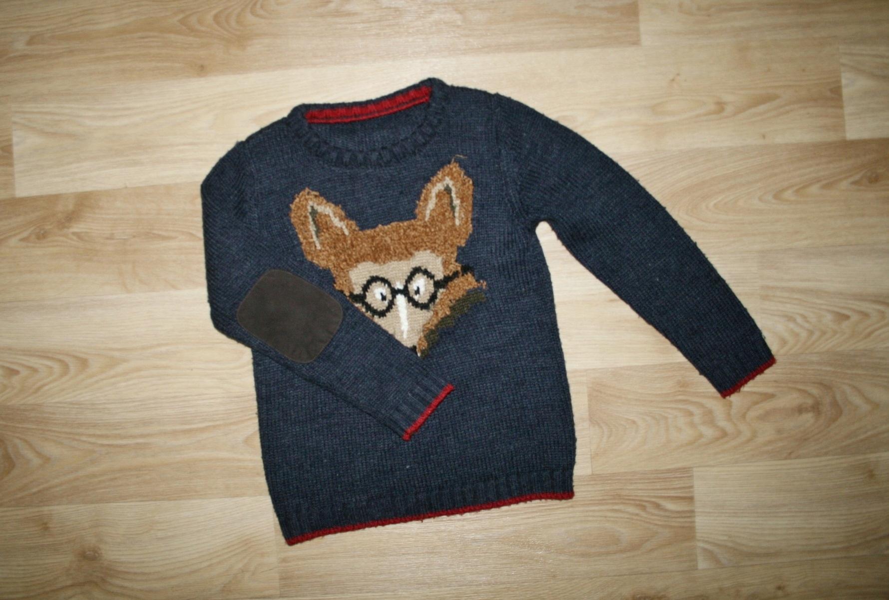 M&S sweterek lisek MODNE ŁATKI 116-122