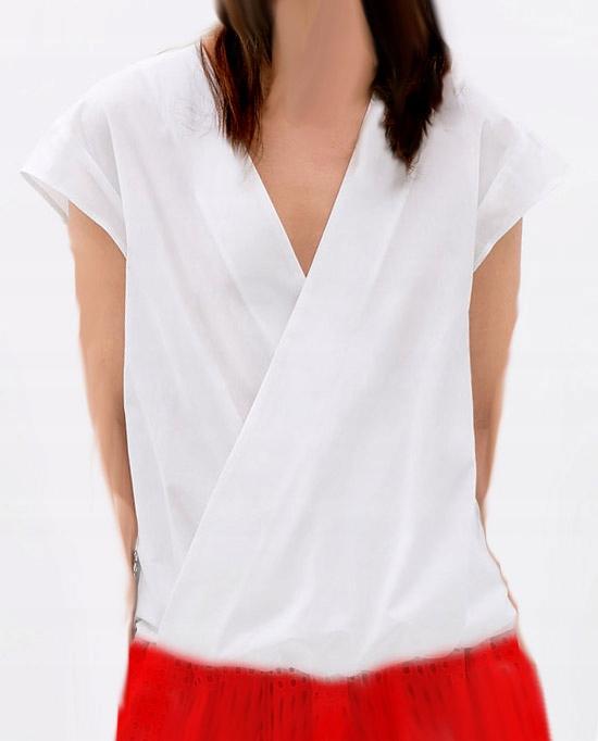 Zara L biała bluzka kopertowa z gumką na dole
