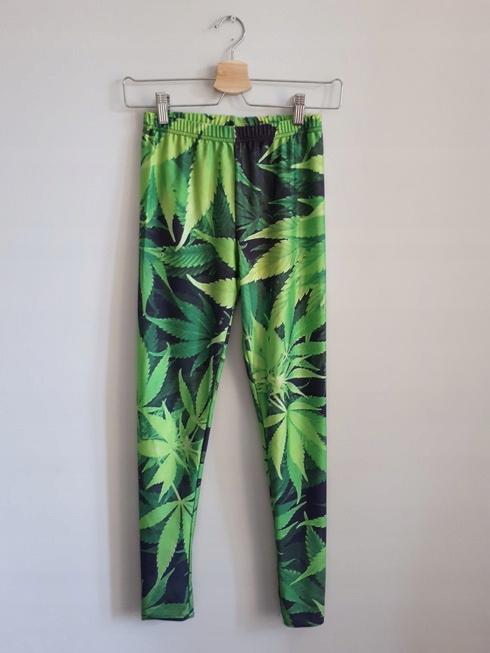 zielone LEGGINSY getry GANJA weed PLNY prosto___36