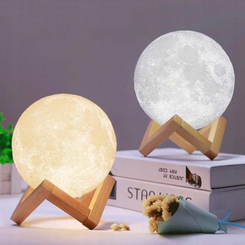 LAMPKA NOCNA ŚWIECĄCY KSIĘŻYC 3D MOON LIGHT LAMPA