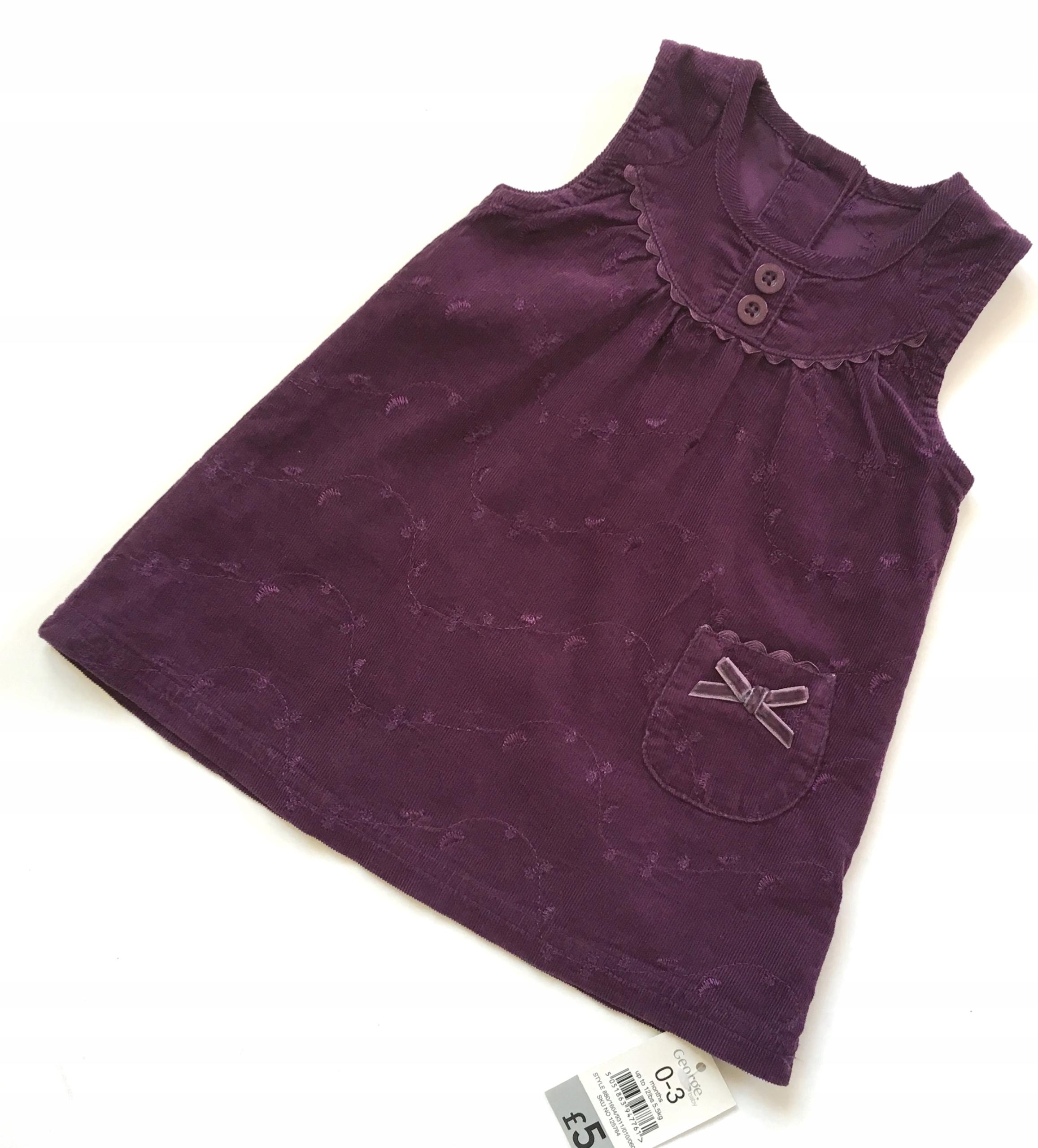 GEORGE sukienka sztruks fiolet 56/62 0-3m