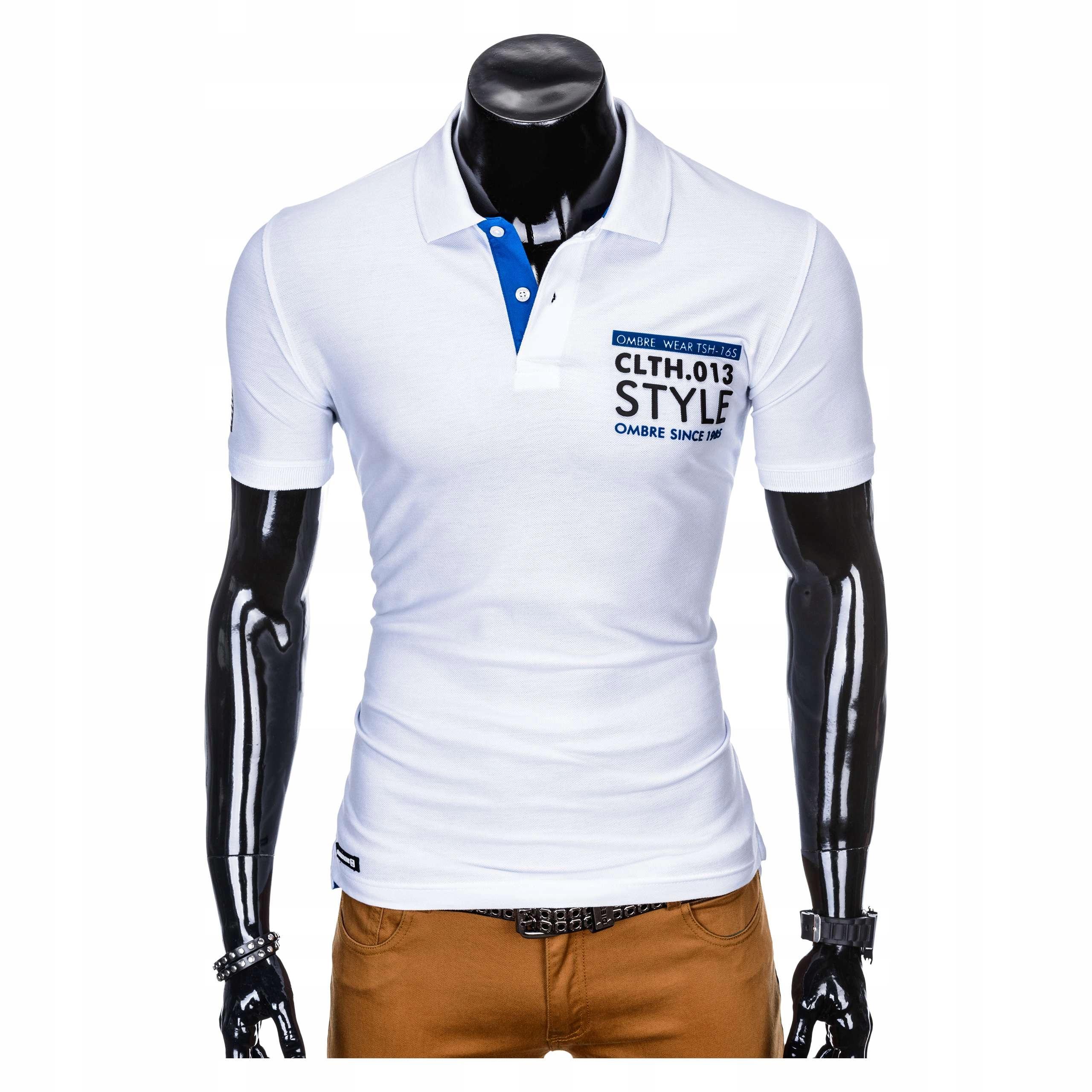 Koszulka męska polówka na prezent S904 biała L