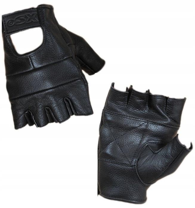 Skórzane rękawiczki bezpalcowe M