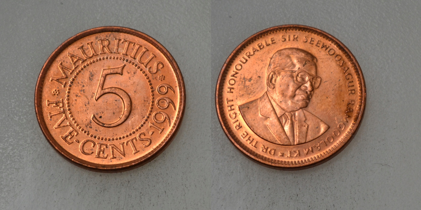 Mauritius 5 Cents 1999 rok BCM