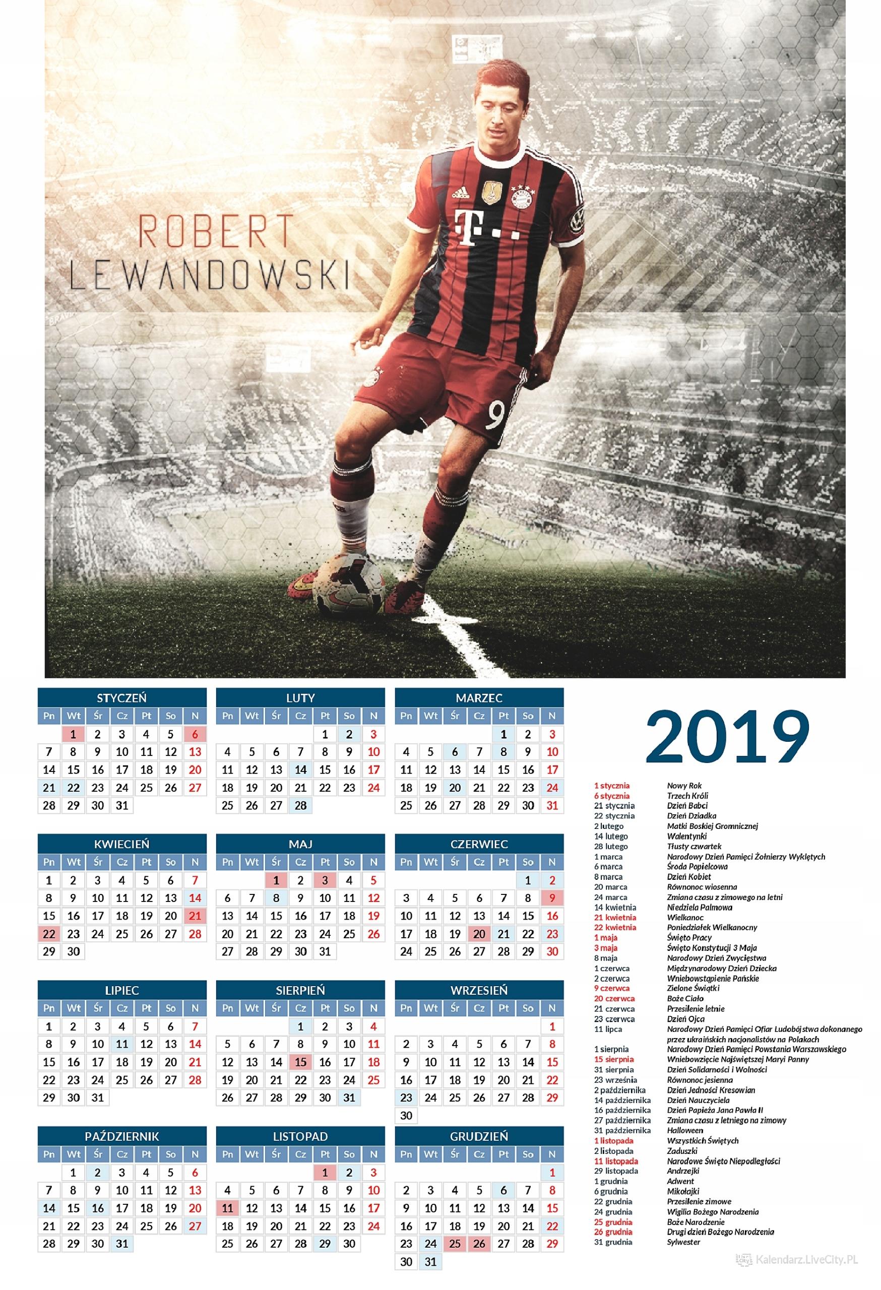 Kalendarz 2019 LEWANDOWSKI