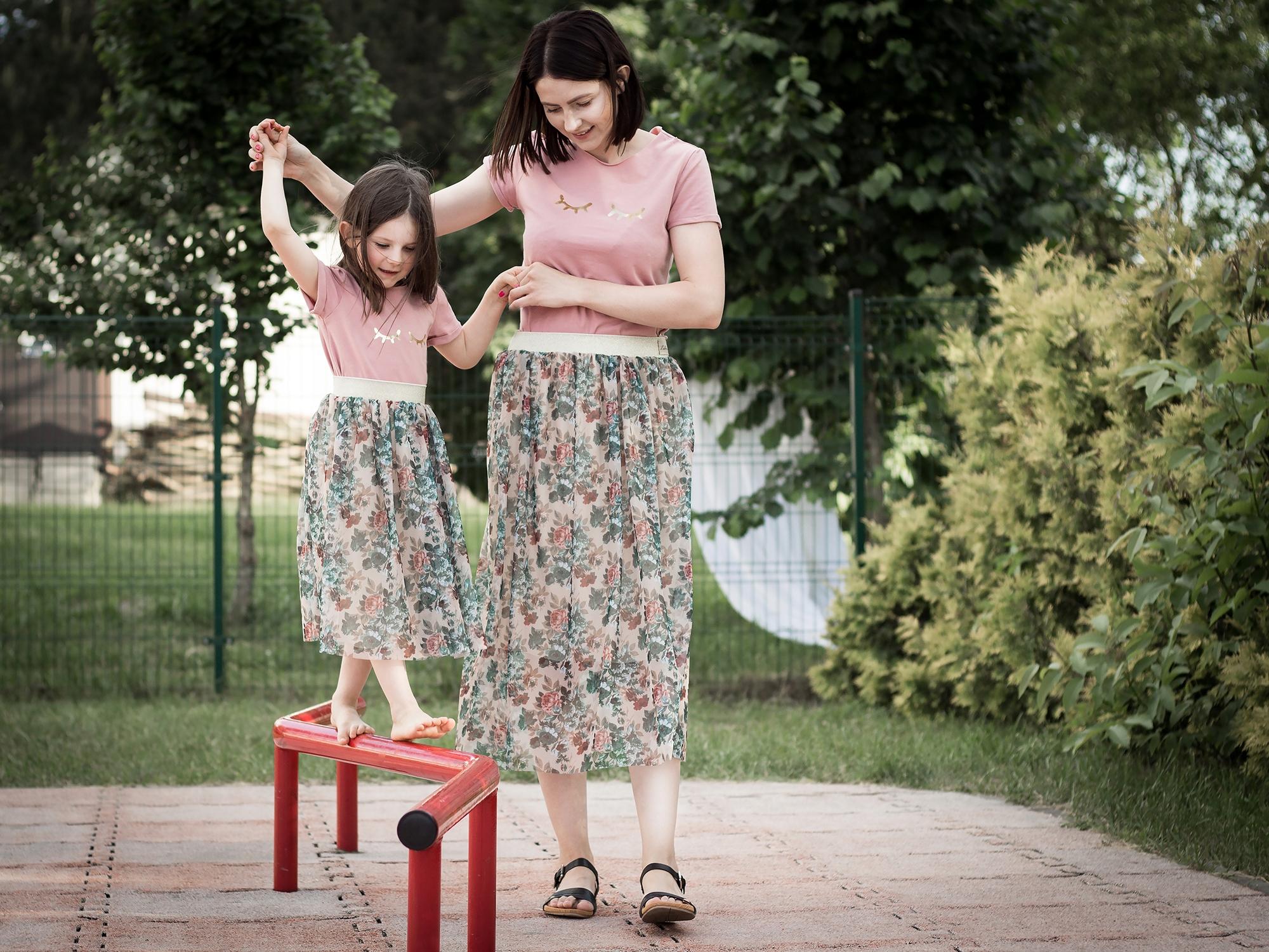 Spódnica w kwiaty na lato 4/5/6 lat Mama i Córka
