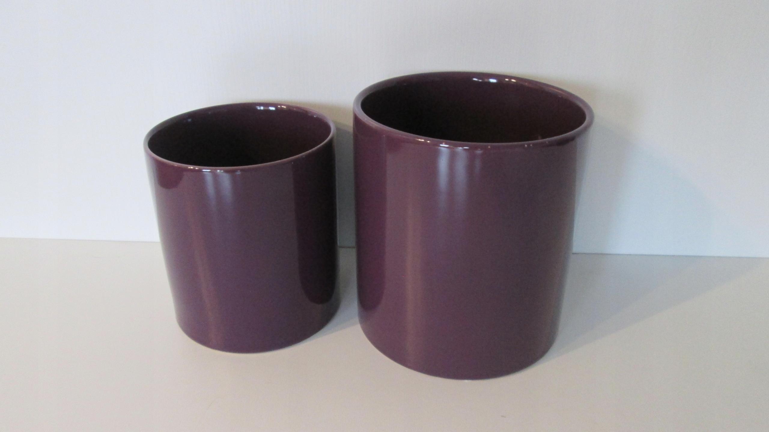 2 Doniczki Ceramiczne Osłonki Fiolet Nowe Brw