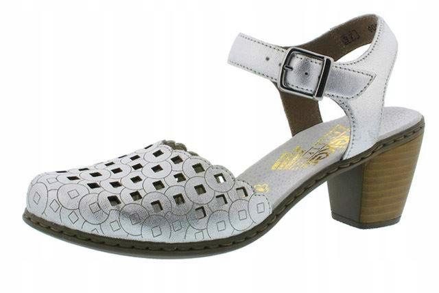 Rieker 40955-90 37 srebrne sandały półbuty OBNIŻKA
