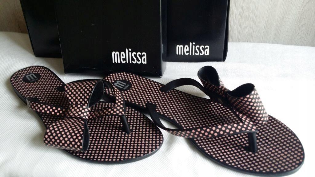 Melissa klapki japonki 38 czarne w kropeczki