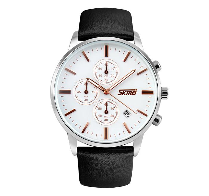 Zegarek męski - SKMEI - pasek - skóra - chronograf