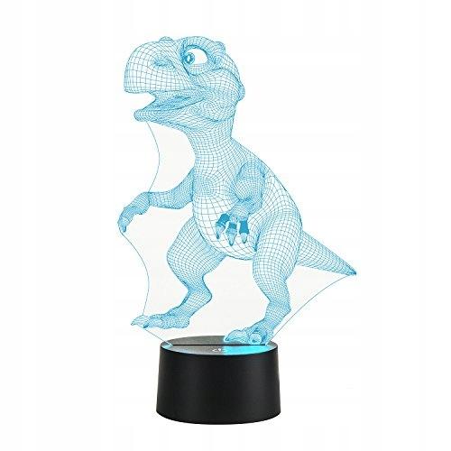 LAMPKA NOCNA DZIECIĘCA DINOZAUR LED 3D 7 KOLORÓW