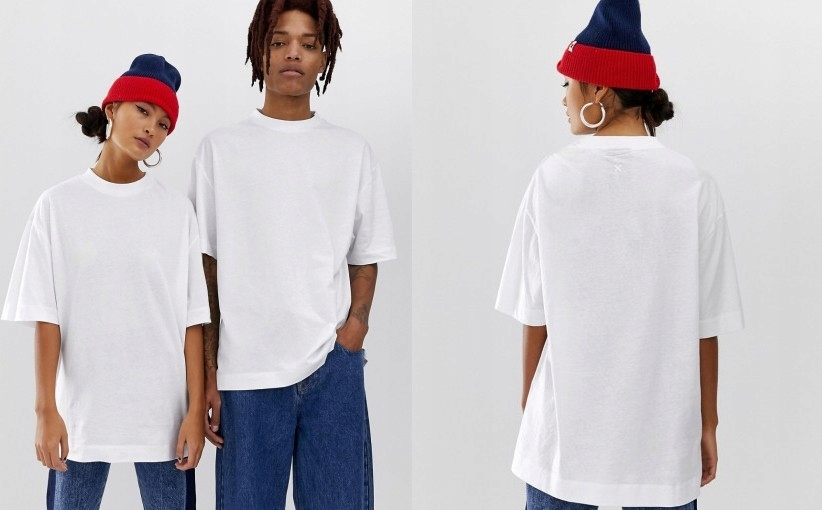 24S095 COLLUSION__NT8 BIAŁY T-SHIRT OVERSIZE__M