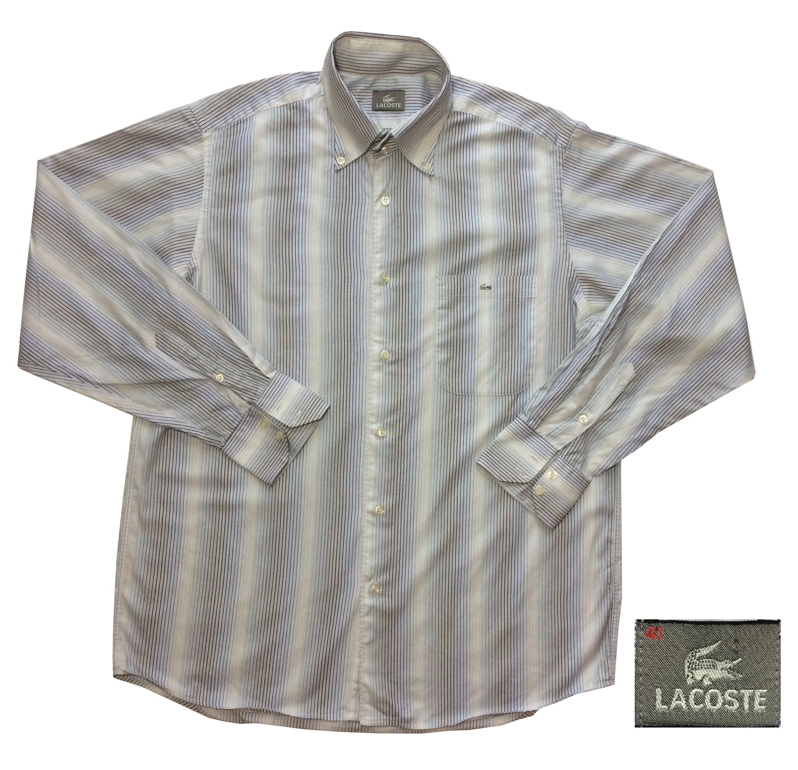 aa8ebd36d LACOSTE koszula męska niebieskie paski bawełna 41 - 6751421275 ...